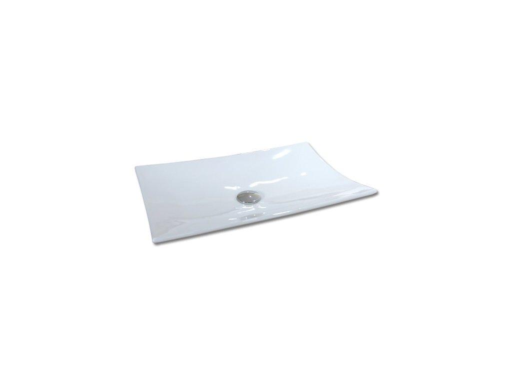 Maxwhite MILANO 8191 Umyvadlo keramické obdelníkové na desku, bílé