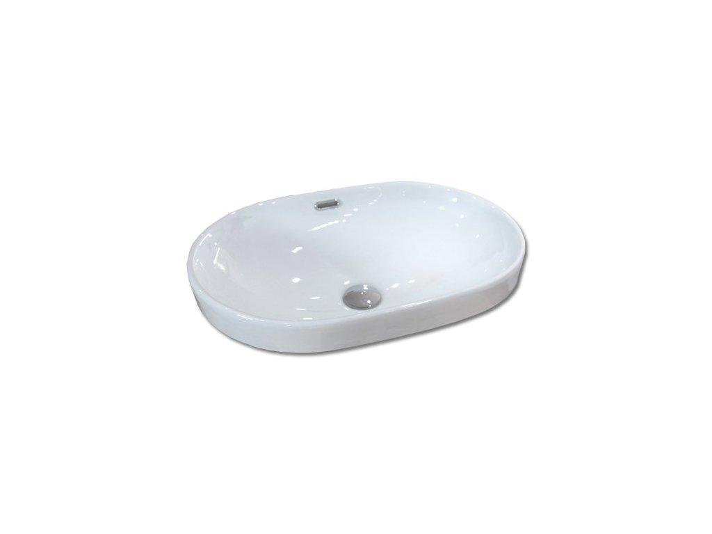 Maxwhite PESARO 8127 Umyvadlo keramické oválné polozápustné do desky, bílé