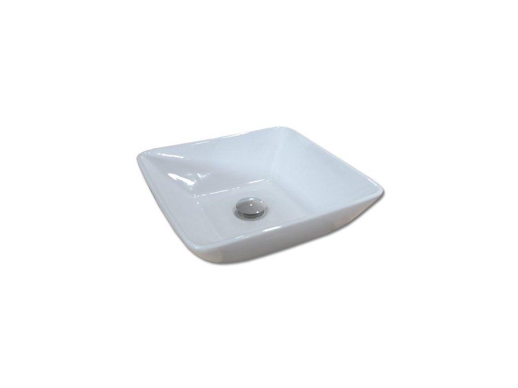 Maxwhite CAPRI 8017 Umyvadlo keramické čtvercové na desku, bílé