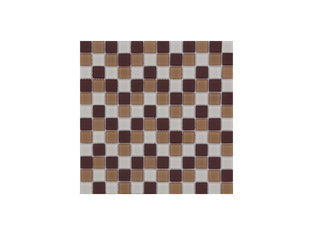 Maxwhite ASHS229 Mozaika skleněná hnědá tmavá hnědá světlá krémová 29,7x29,7cm