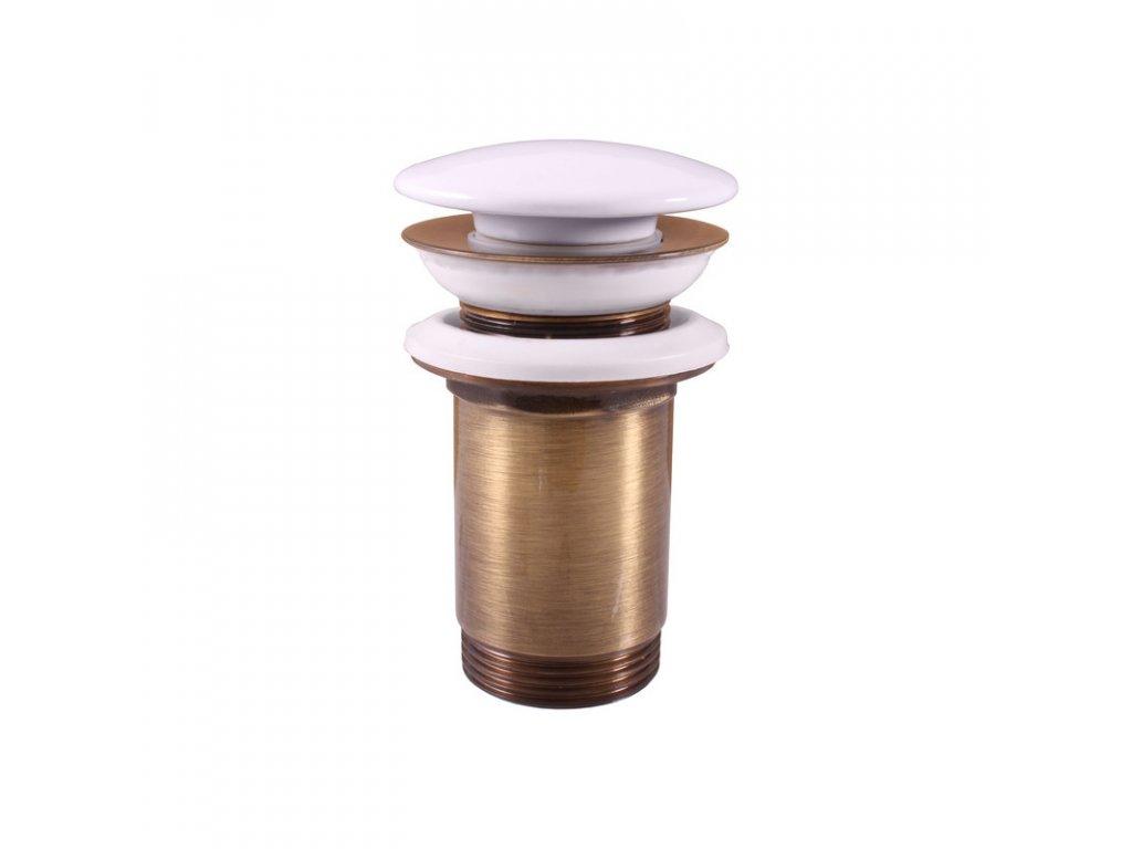 Slezák RAV MD0485SM Výpusť umyvadlová Click-Clack 5/4 s keramickou zátkou stará mosaz