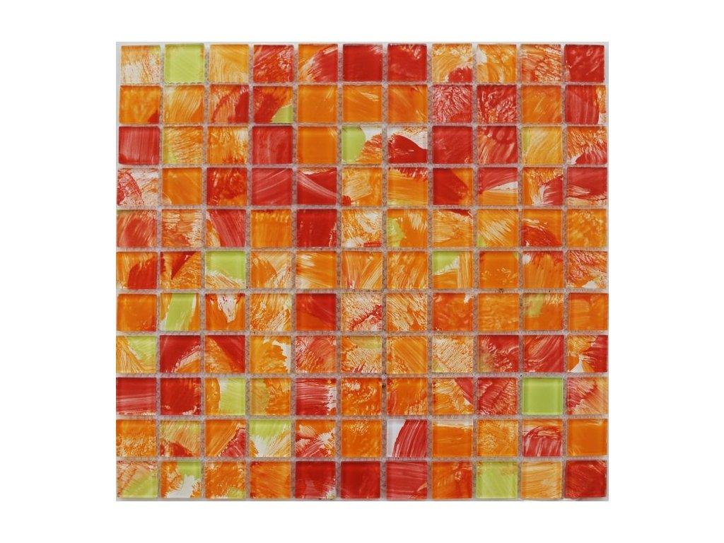 Maxwhite JSM-CH017 Mozaika skleněná, žlutá, červená, oranžová 29,7 x 29,7 cm