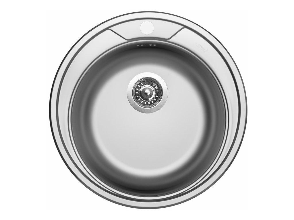 Sinks Round 510 V 0,6mm 3 1/2 dřez nerezový bez odkapu, matný + sifon II. jakost