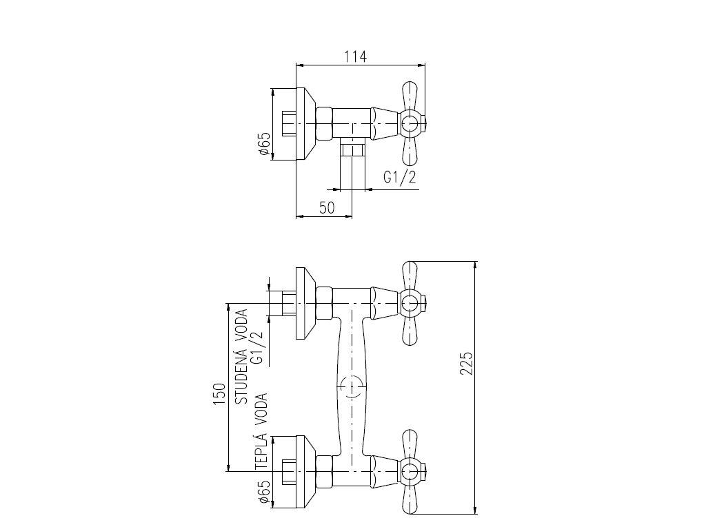 Vodovodní baterie sprchová Slezák RAV Morava MK180 MK180.5Z - rozteč 150 mm, zlato