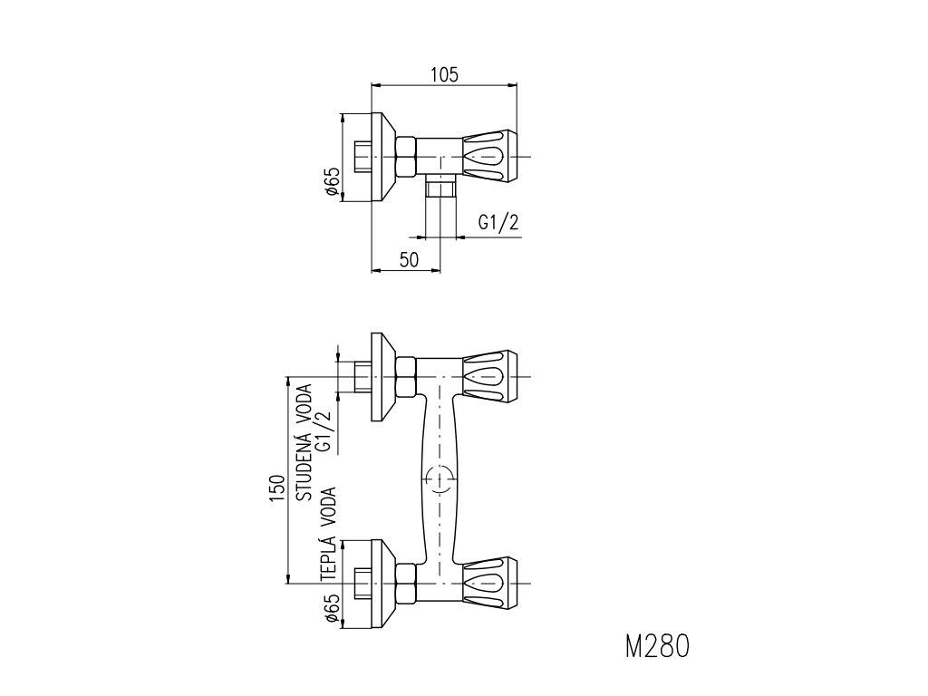 Vodovodní baterie sprchová Slezák RAV Morava Eco M280 M280.5 - rozteč 150 mm, chrom