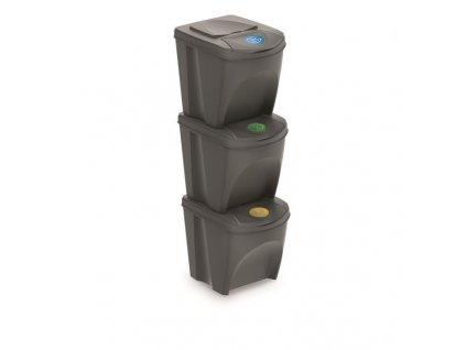 Prosperplast SORTIBOX IKWB25S3 3x25L Sada 3 odpadkových košů, 392x293x335, Šedá