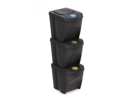 Prosperplast SORTIBOX IKWB25S3 3x25L Sada 3 odpadkových košů, 392x293x335, Antracit
