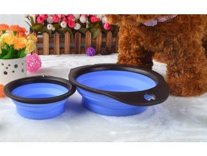 Skládací silikonová miska pro psa 14x5cm modrá - malá