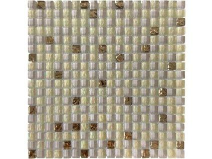 Maxwhite DHT16 Mozaika skleněná bílá zlatá 30x30cm sklo