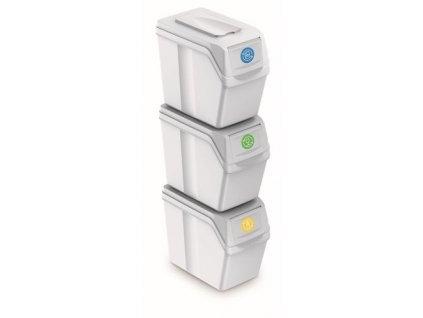 Prosperplast ISWB20S3-S449 Sada 3 odpadkových košů SORTIBOX I bílá, objem 3x20L
