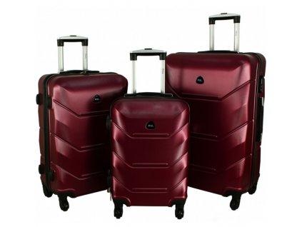 RGL 720 Cestovní skořepinové kufry - sada 3ks - 85l + 58l + 35l, vínová