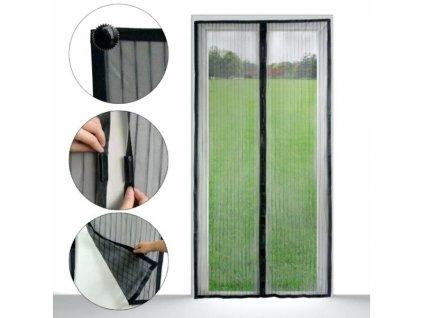 HUKA 210100 Síť proti hmyzu 210x100 cm do dveří, magnetická, černá PE
