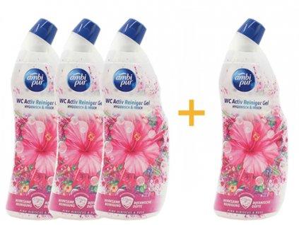 Ambi pur WC Active gel ibišek - růže 750 ml 3+1 ks