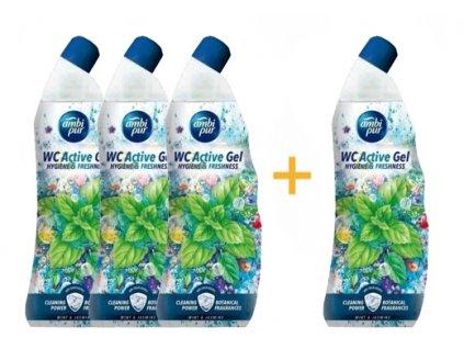 Ambi pur WC Active gel máta - jasmín 750 ml 3+1 ks