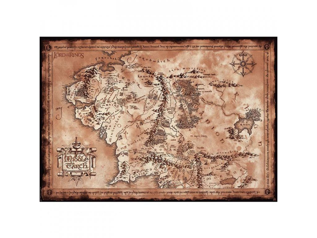 lord of the rings poster map 915x61