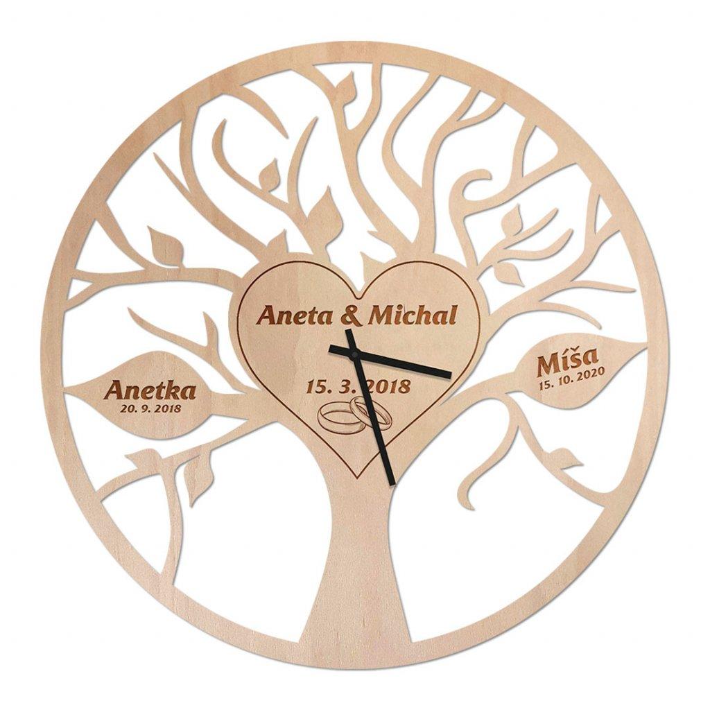 Dřevěné hodiny - svatební rodinný strom života