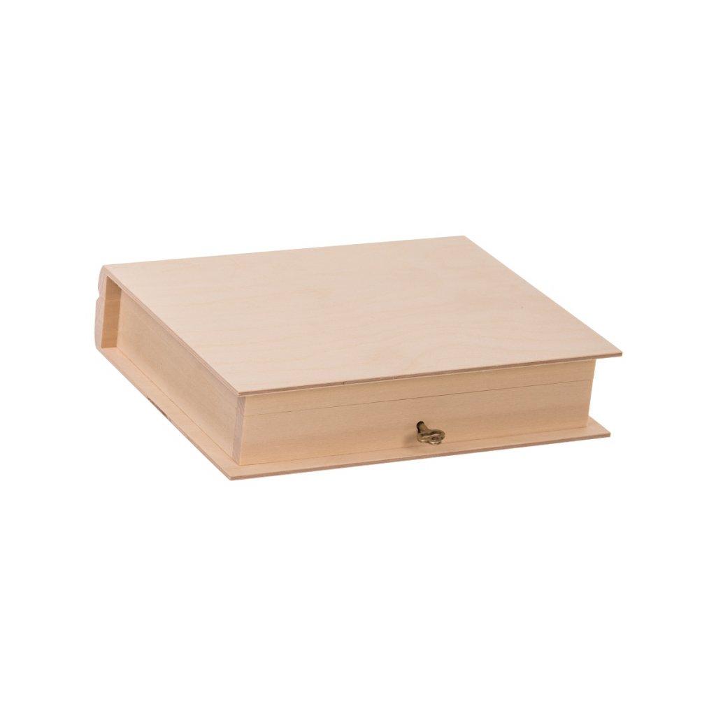 Dřevěná krabička kniha na klíč