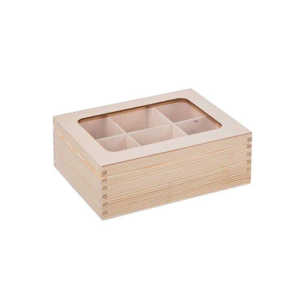 Dřevěná krabička s plexisklem - 6 přihrádek