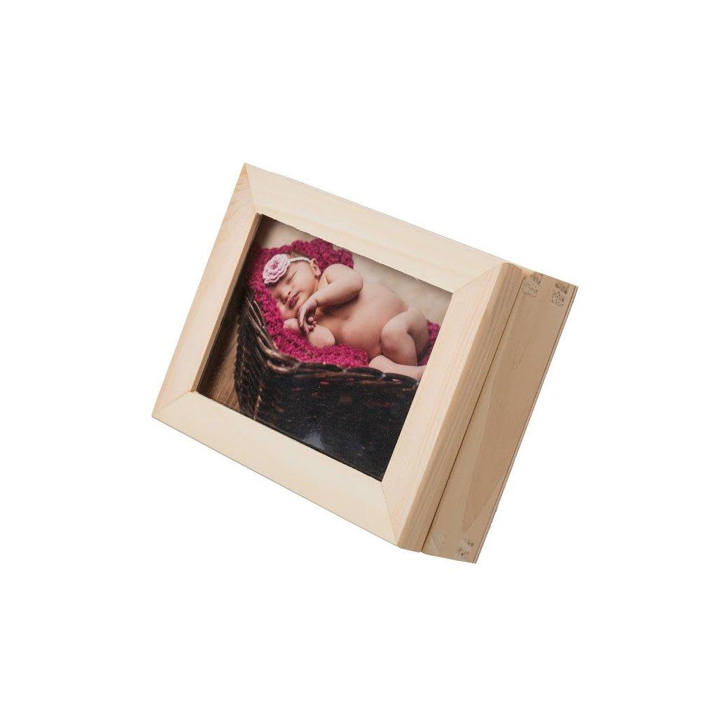Dřevěná krabička na fotografie s rámečkem