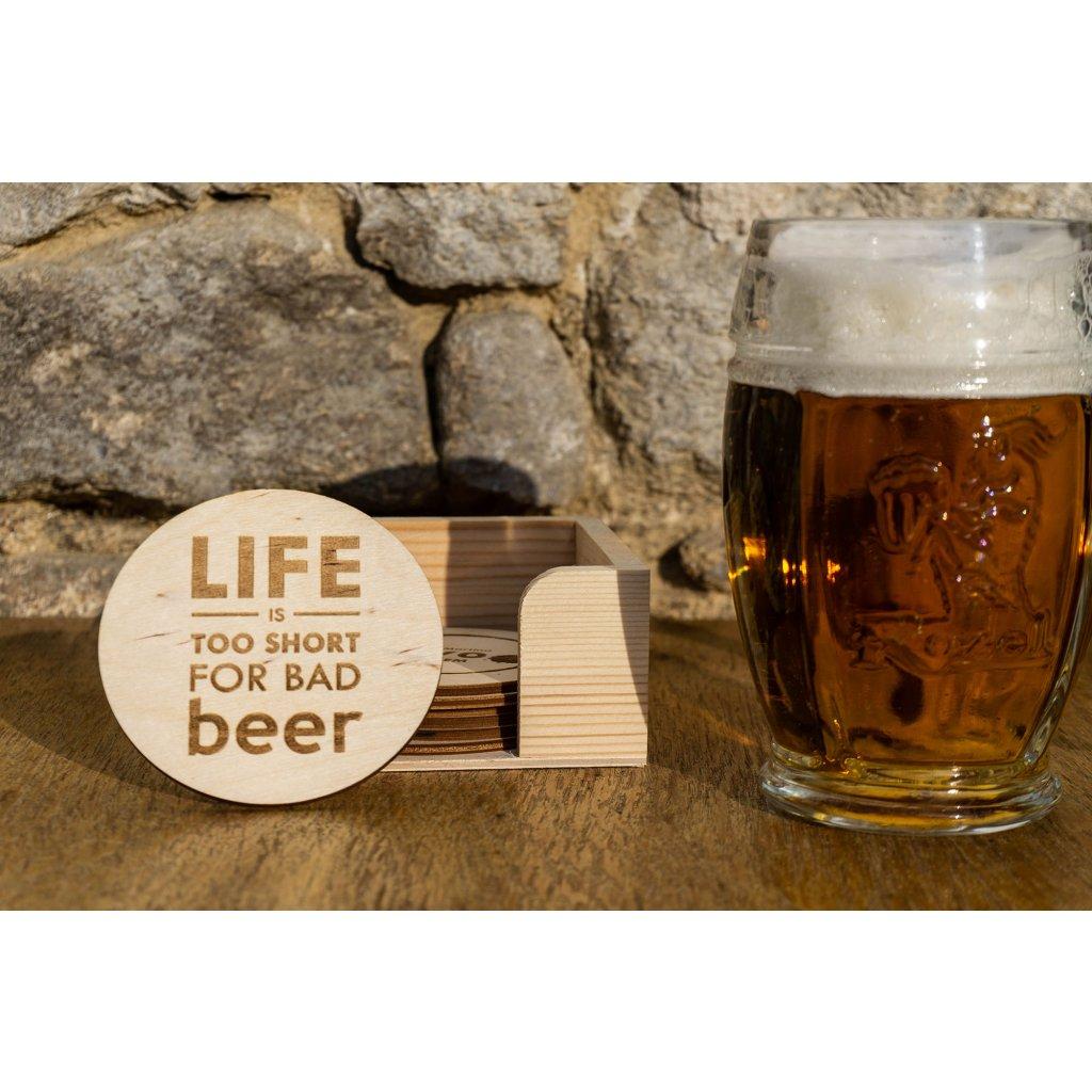 Pivní podtácky na míru 10ks (+ZDARMA stojánek z masivu borovice)