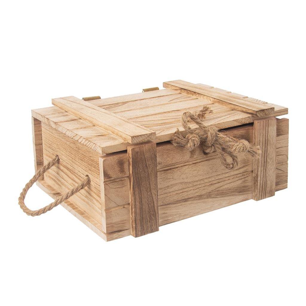 Dřevěná truhla s provázkem 30 x 21 x 12 cm