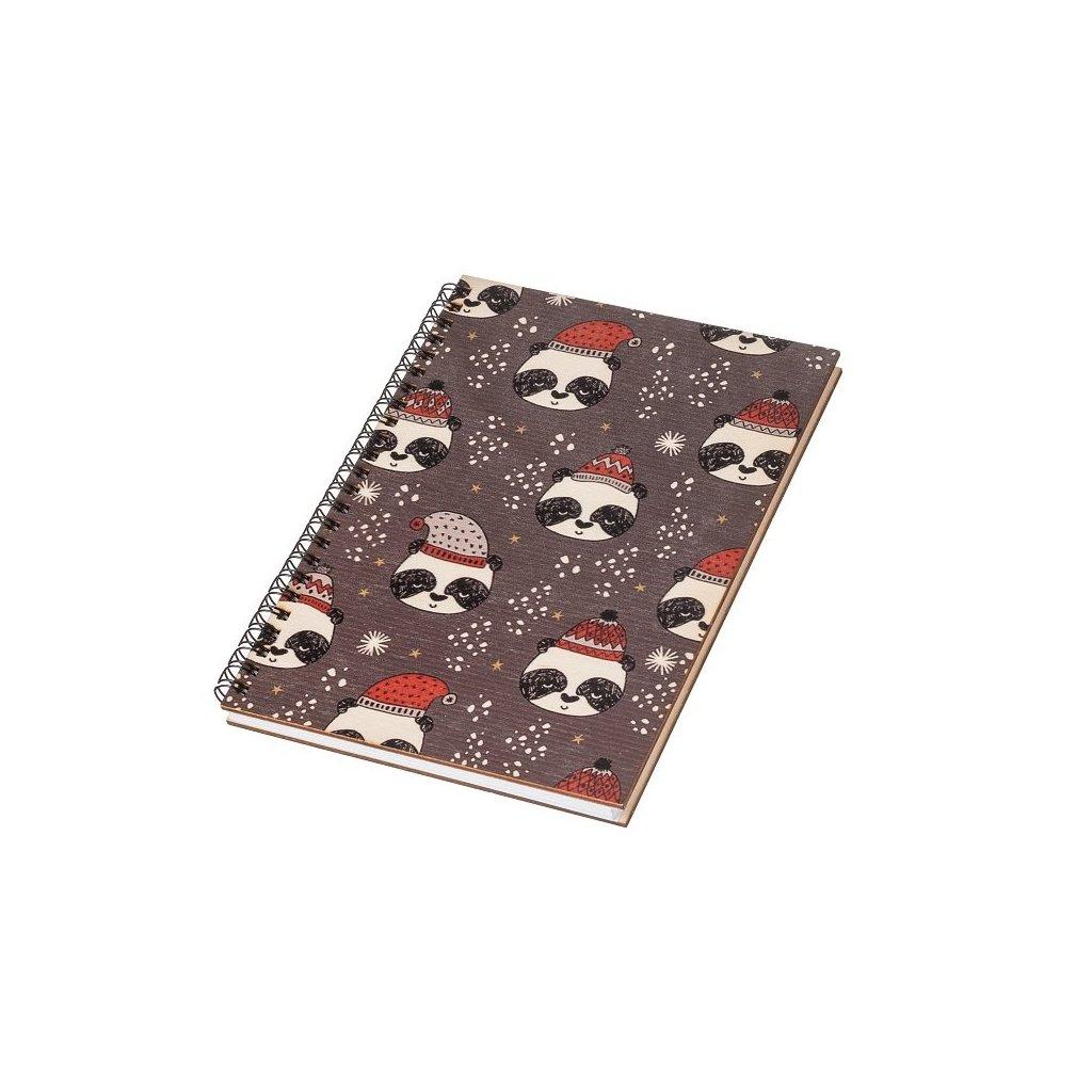 Dřevěný blok A5 - vánoční pandy