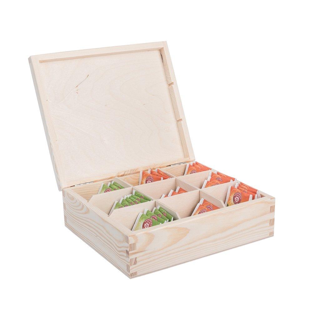 Dřevěná krabička na čaj (9 přihrádek)
