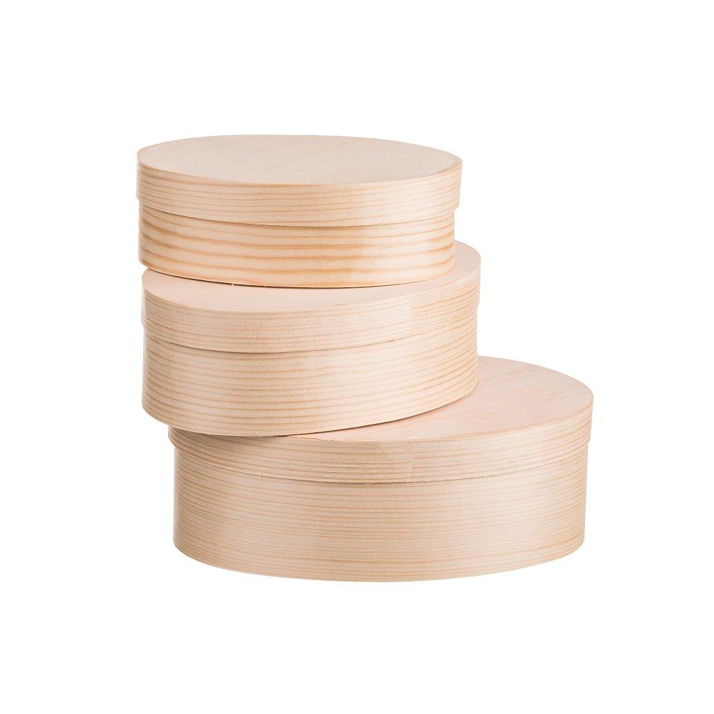 Dřevěné oválné krabičky z dýhy 3ks