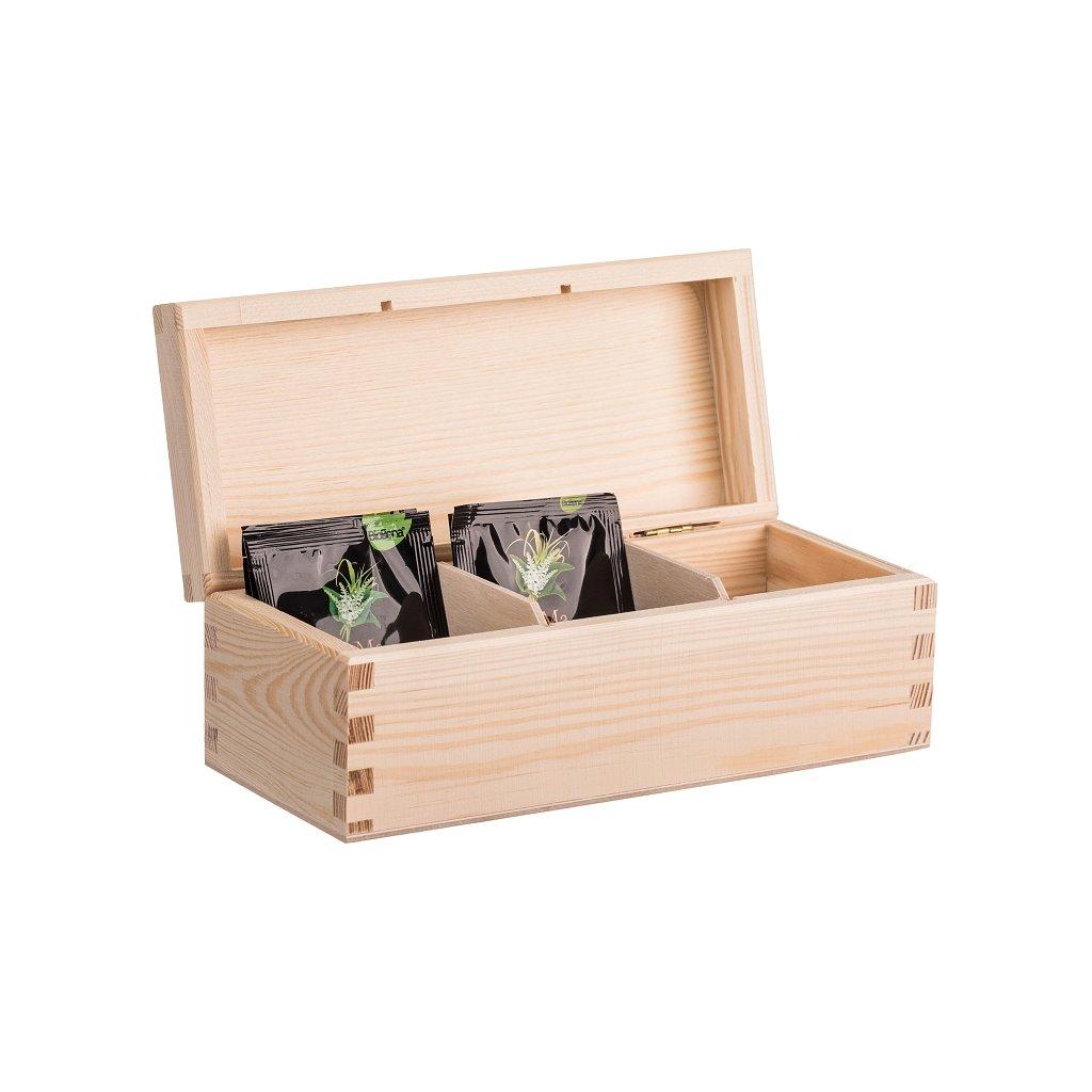 Dřevěná krabička na čaj (3 přihrádky)