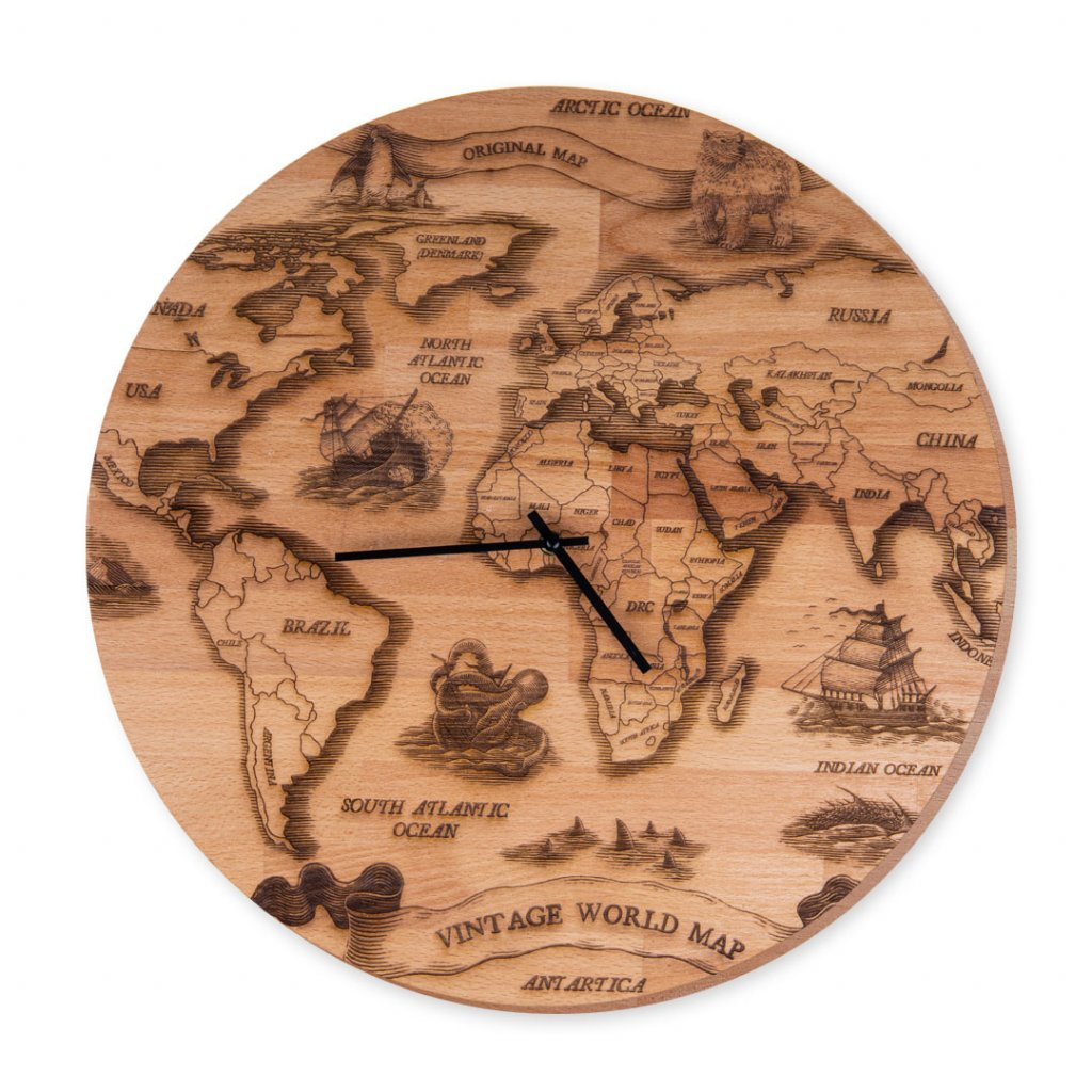 Hodiny s mapou světa masivní Vintage World Map
