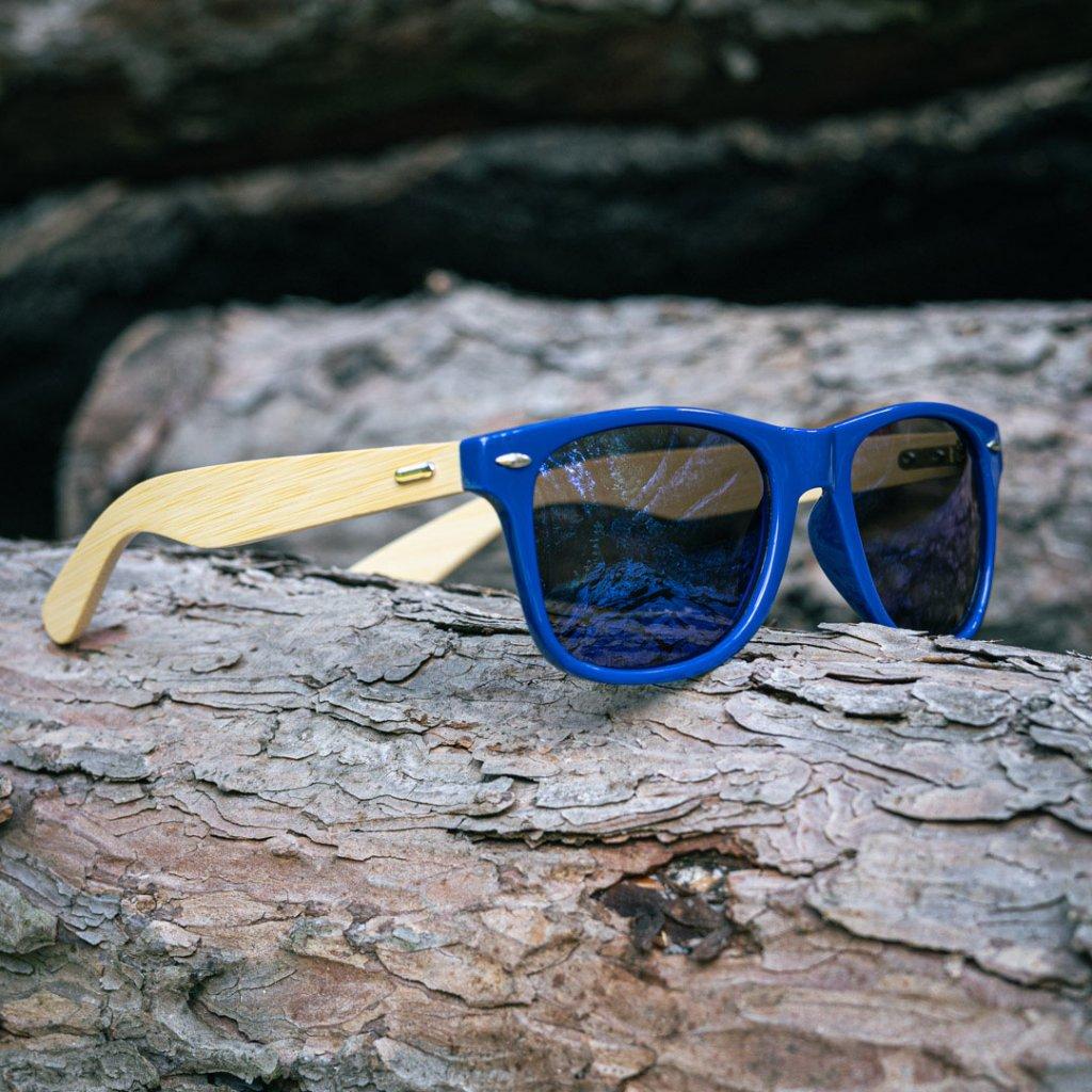 Sluneční brýle s bambusovými nožičkami - Modrý rámeček s modrými sklíčky (matné)