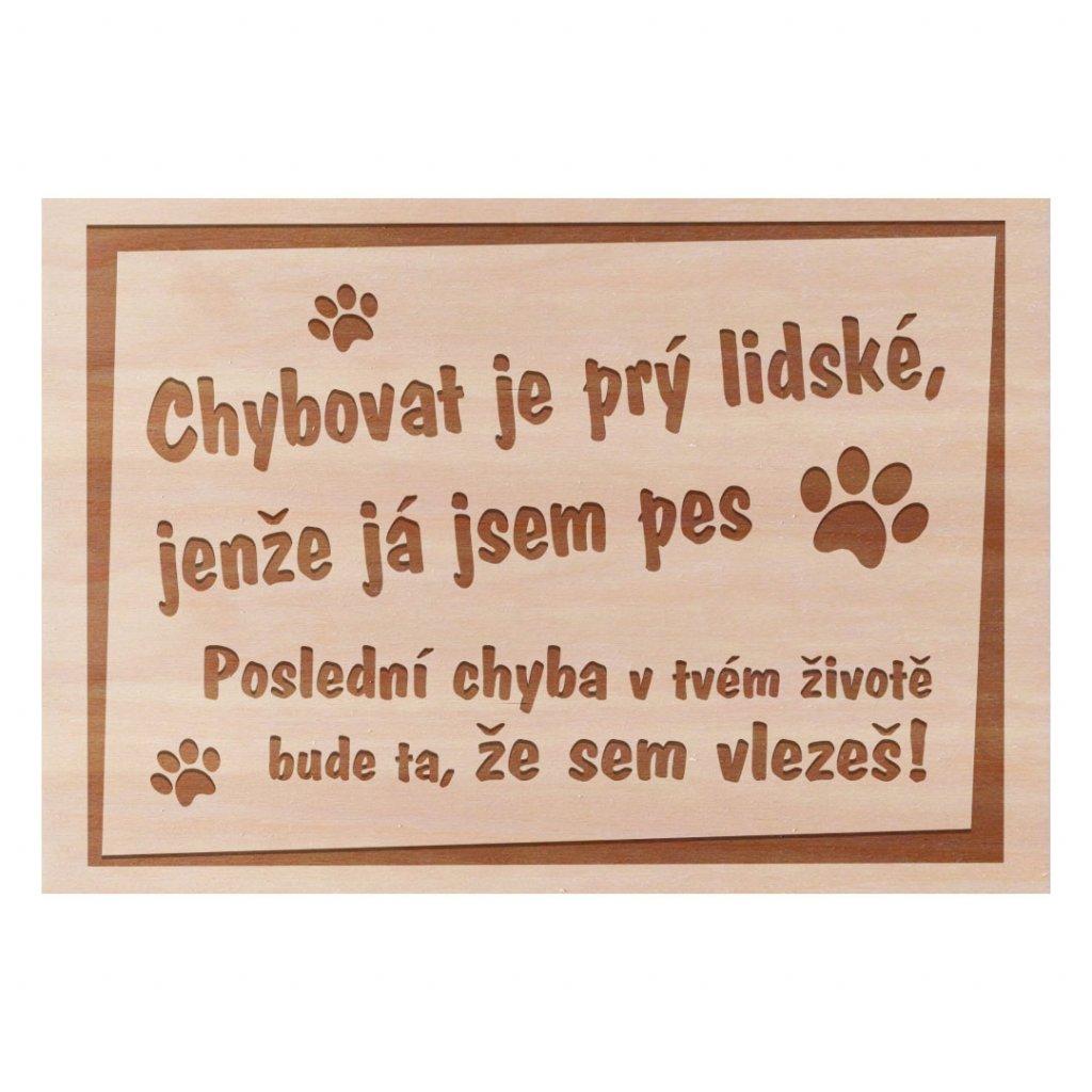 Dřevěná cedulka Chybovat je lidské ještěže jsem pes