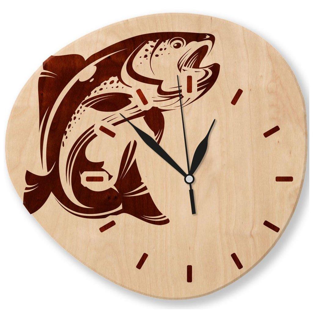 Dřevěné nástěnné hodiny - Ryba