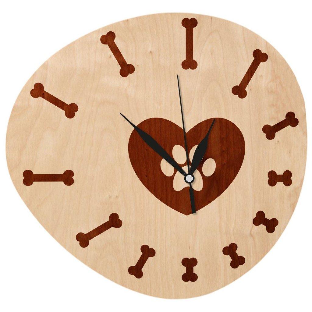 Dřevěné nástěnné hodiny - Tlapka