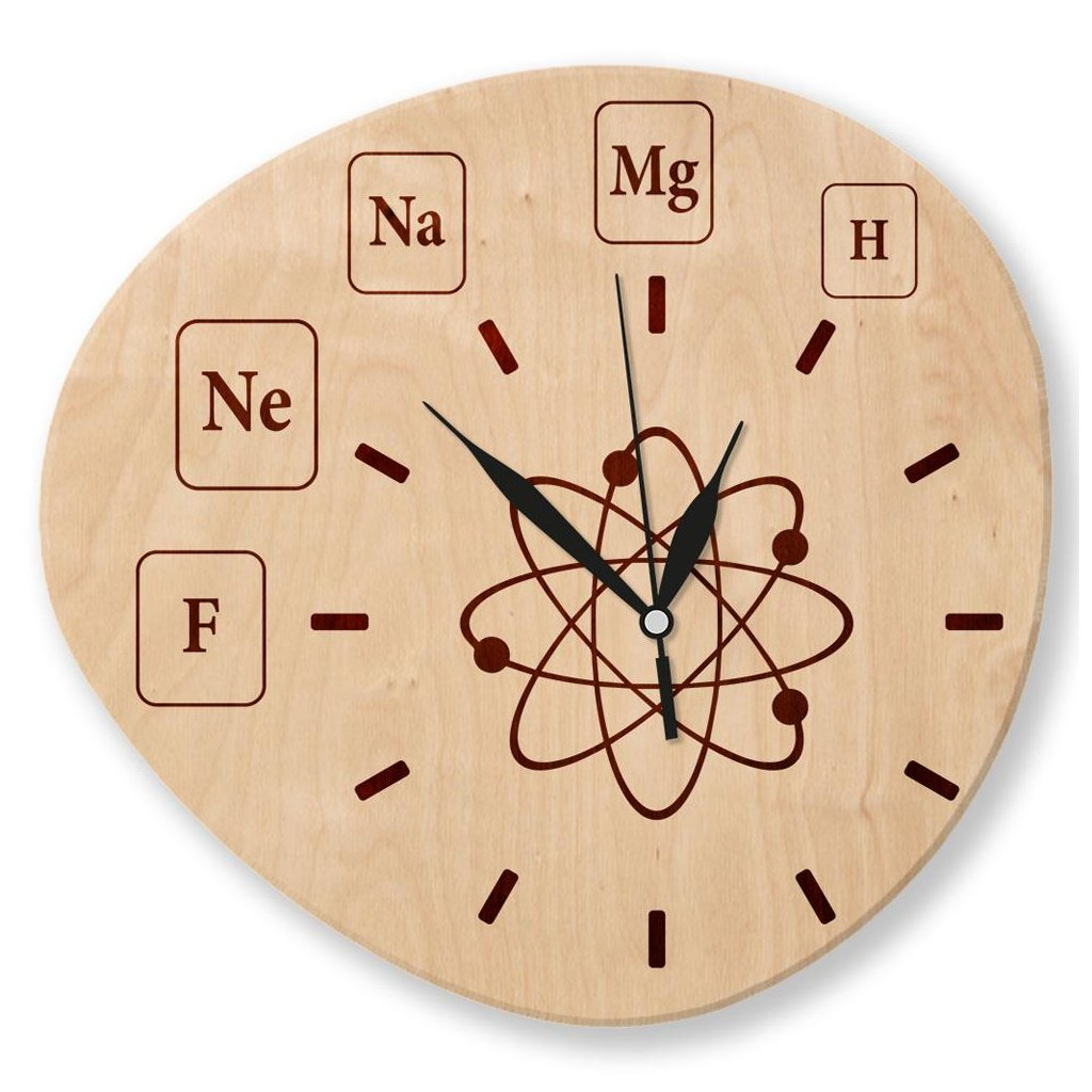 Dřevěné nástěnné hodiny - Chemie