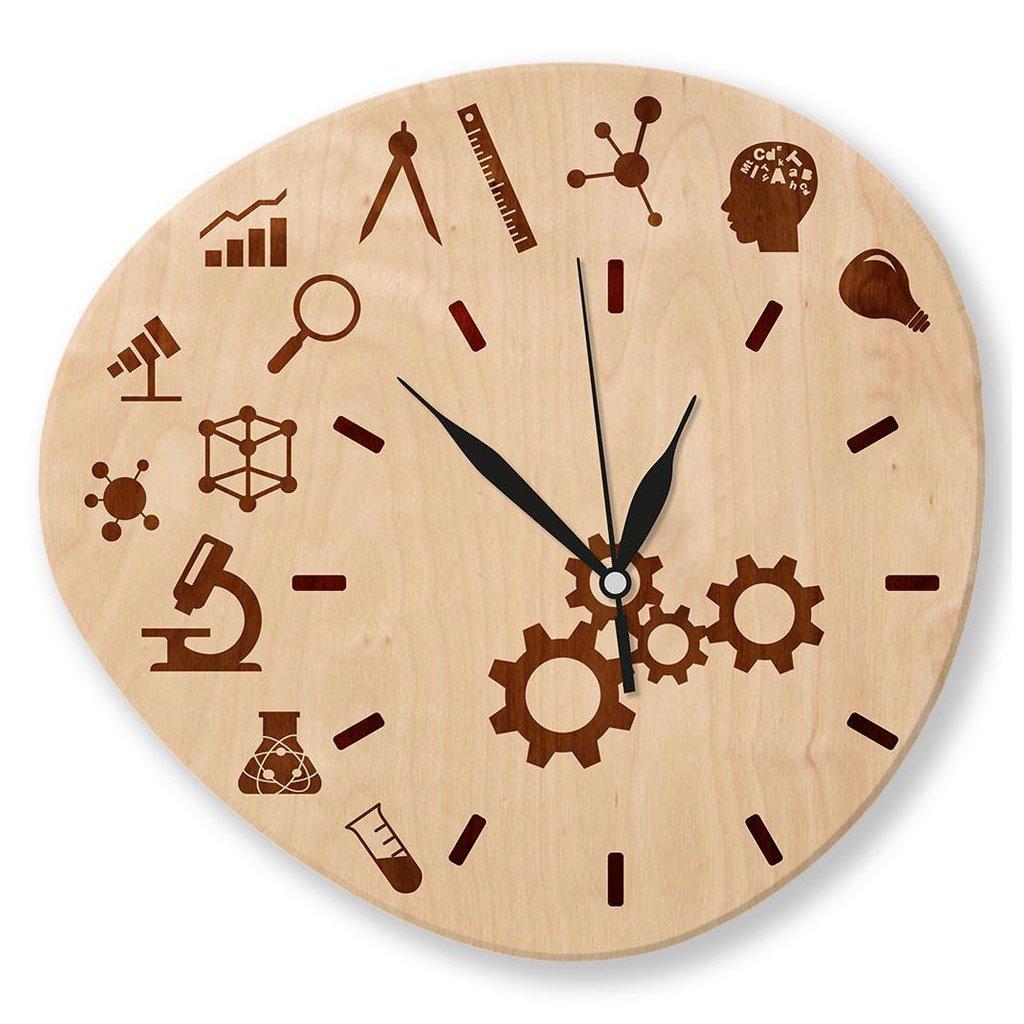 Dřevěné nástěnné hodiny - Fyzika