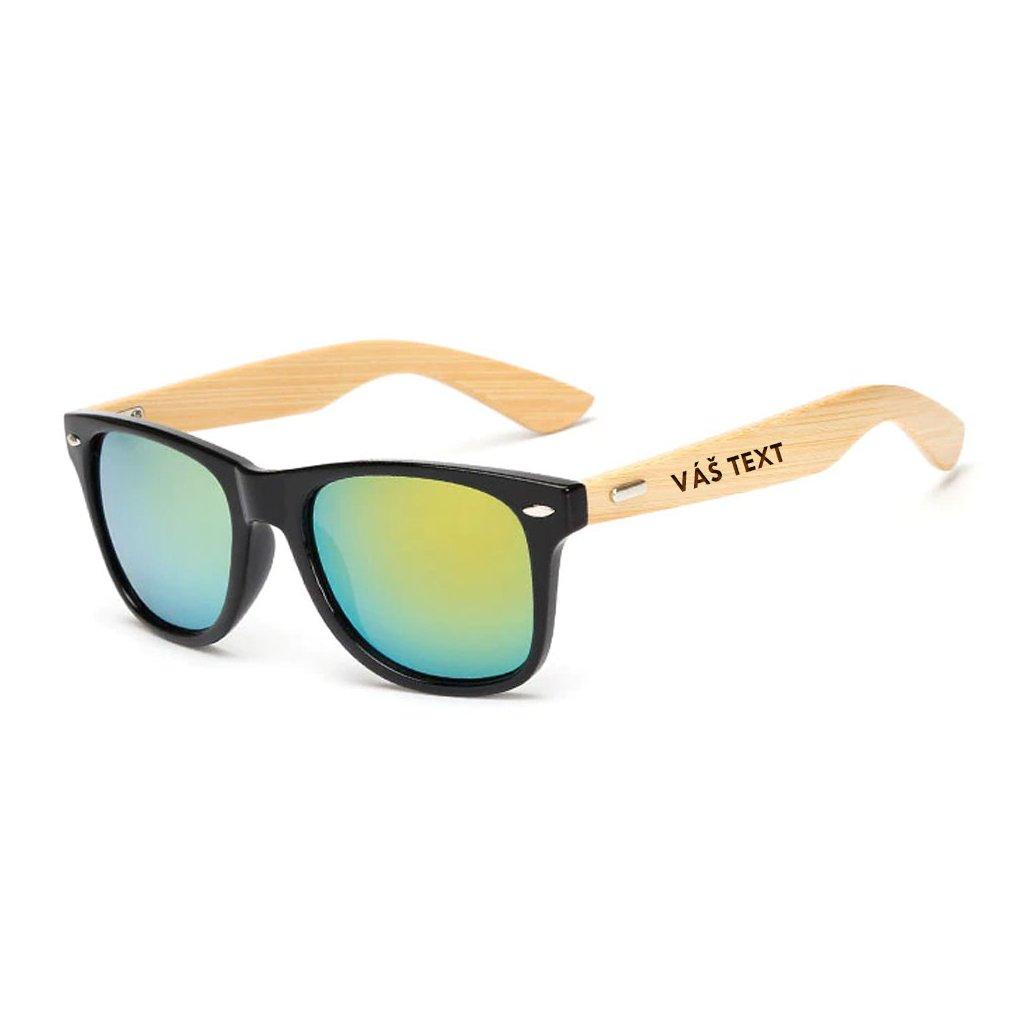 Sluneční brýle s vlastním textem - černozlaté