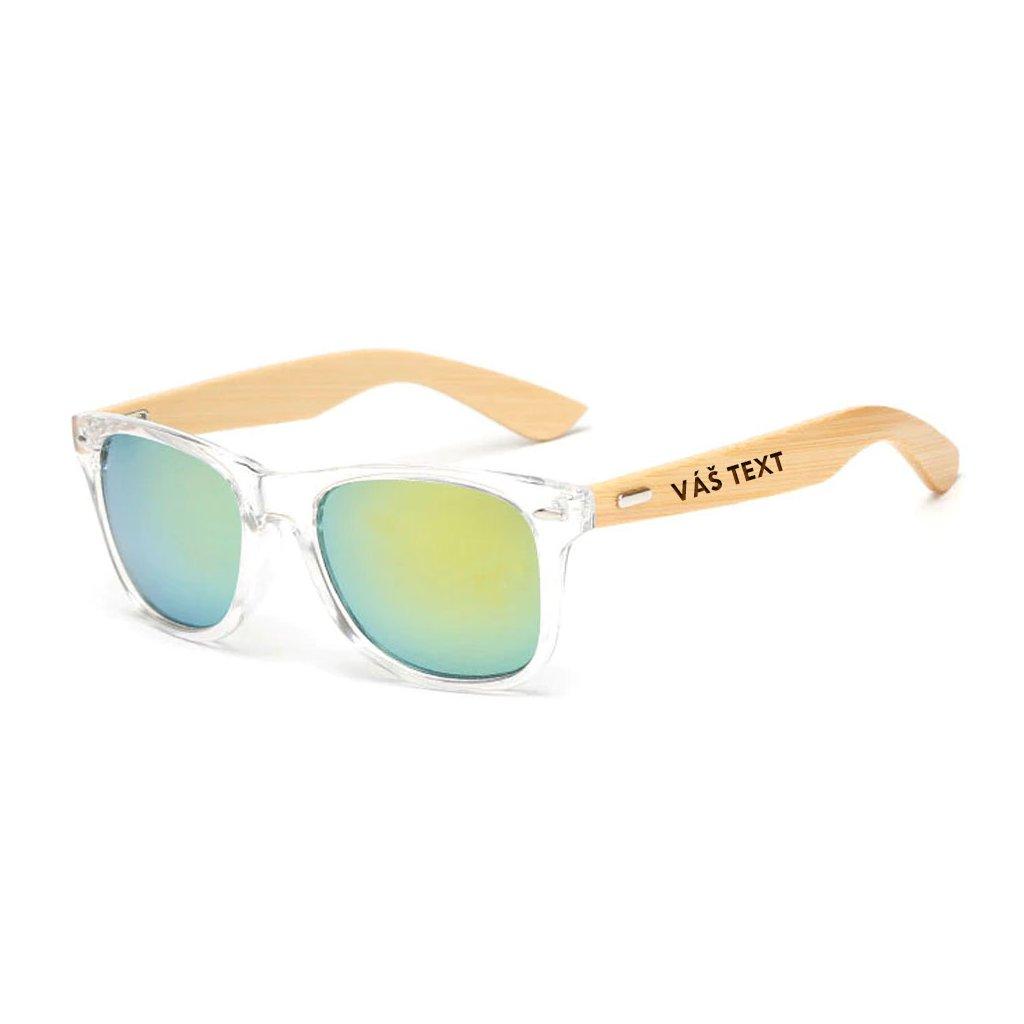 Sluneční brýle s vlastním textem - transparentní se zlatými sklíčky