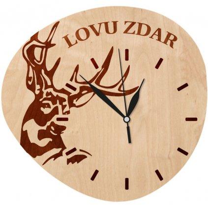Dřevěné nástěnné hodiny - Lovu zdar