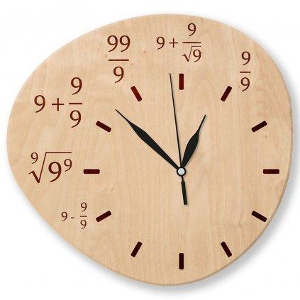 Dřevěné nástěnné hodiny - Matematika