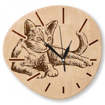 Dřevěné nástěnné hodiny - Kočka