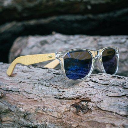 Sluneční brýle s vlastním textem - transparentní s modrými sklíčky