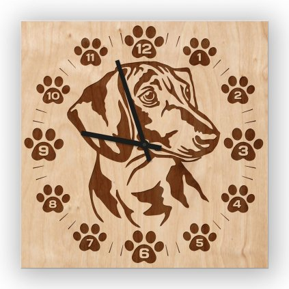 Nástěnné dřevěné hodiny jezevčík
