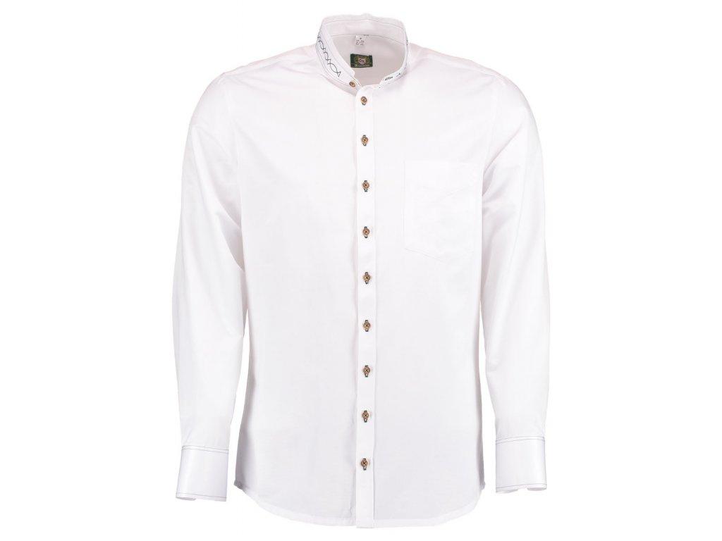 Společenská bílá košile se stojáčkem