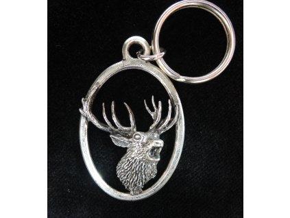 Přívěšek na klíče Troubící jelen