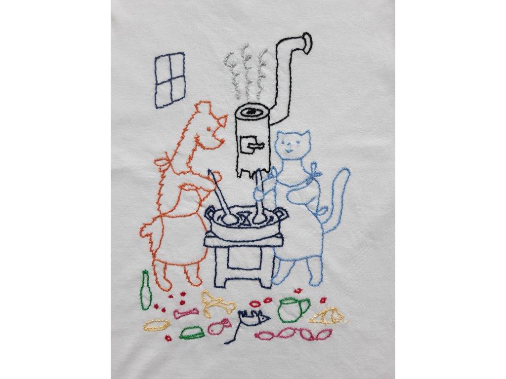 Tričko Pejsek a kočička vaří dort detail