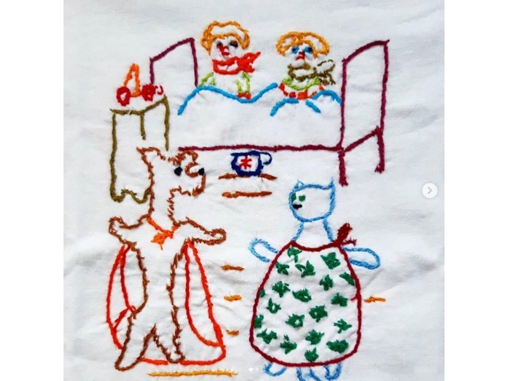 Děti s pejskem a kočičkou detail