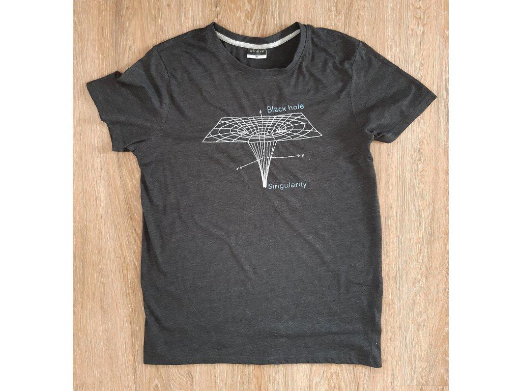 Ručně vyšívané pánské tričko vel. XL - černá díra