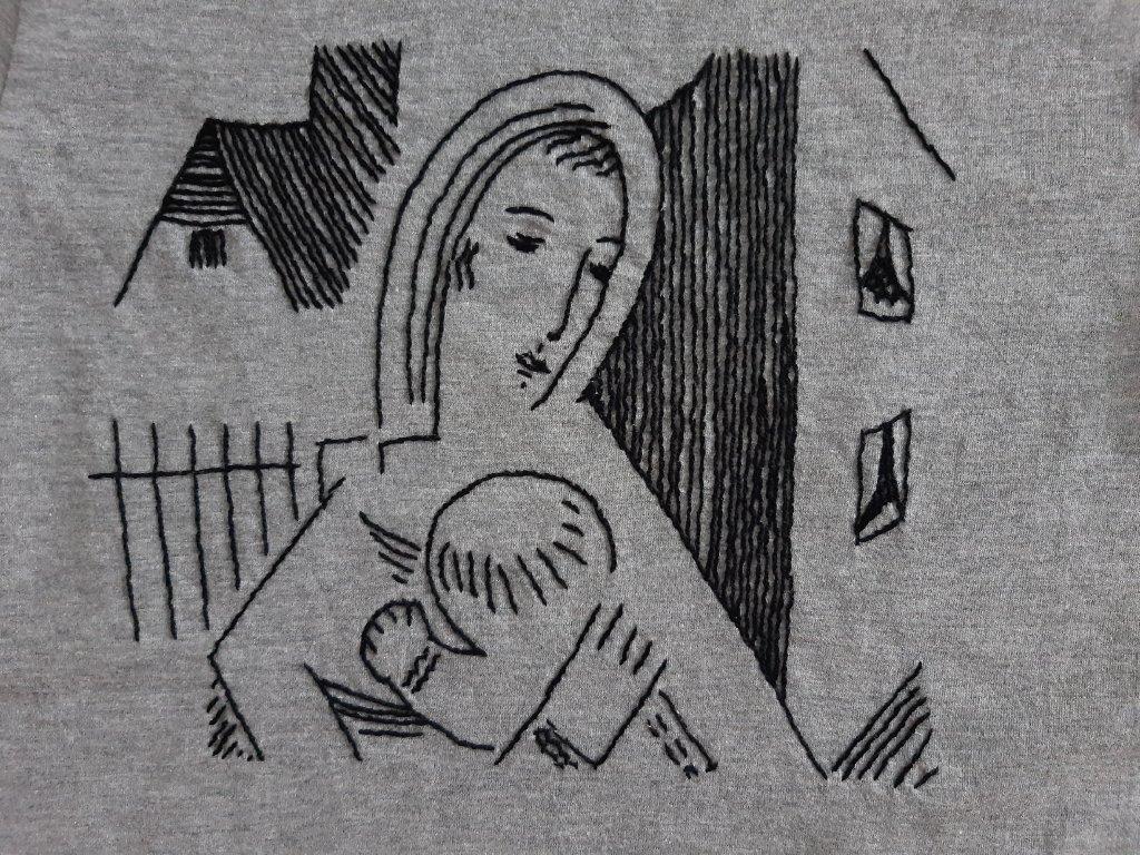 Tričko Čapek Matka s dítětem detail
