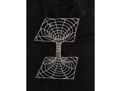 Ručně vyšívané pánské tričko vel. S - černá díra